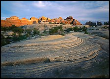 Rock swirls and spires at sunset, Needles District. Canyonlands National Park, Utah, USA.