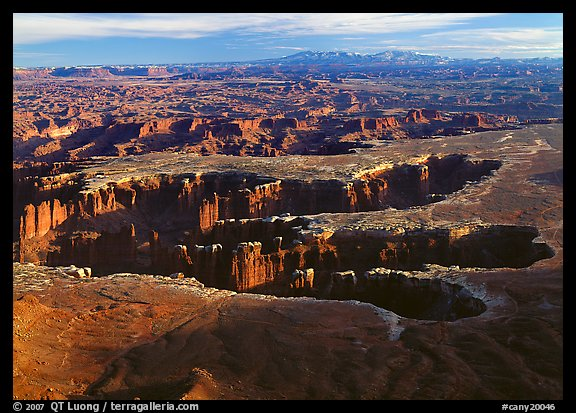 Maze of interlocked canyons from Grand view point, Island in the sky. Canyonlands National Park (color)