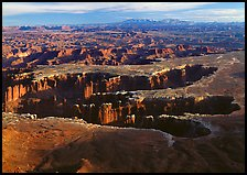 Maze of interlocked canyons from Grand view point, Island in the sky. Canyonlands National Park ( color)