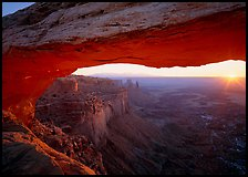 Sunrise through Mesa Arch, Island in the Sky. Canyonlands National Park, Utah, USA. (color)