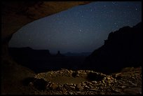 Ruin in a cave at night. Canyonlands National Park, Utah, USA. (color)