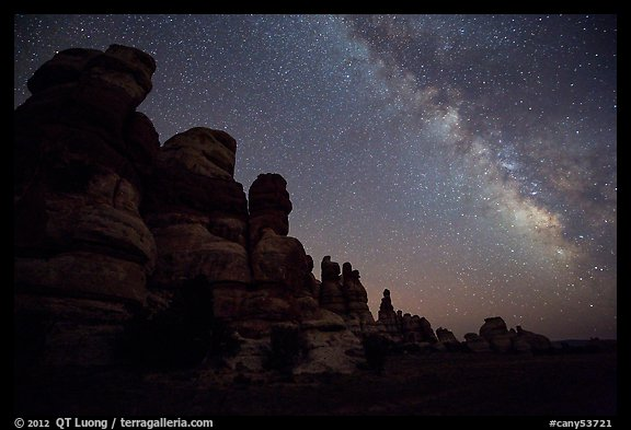 Dollhouse towers and Milky Way, Maze District. Canyonlands National Park (color)