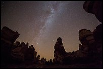 Dollhouse pinnacles and Milky Way, Maze District. Canyonlands National Park, Utah, USA. (color)
