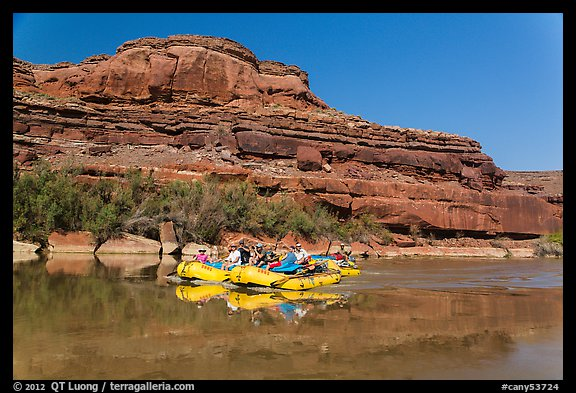 Rafts and cliffs, Colorado River. Canyonlands National Park (color)