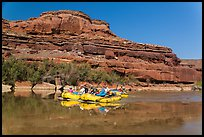 Rafts and cliffs, Colorado River. Canyonlands National Park, Utah, USA. (color)