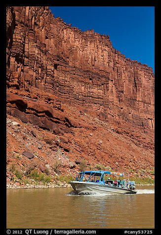 Jetboat and cliffs, Colorado River. Canyonlands National Park (color)