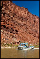 Jetboat and cliffs, Colorado River. Canyonlands National Park, Utah, USA. (color)
