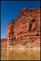 Red cliffs above Colorado River. Canyonlands National Park, Utah, USA. (color)