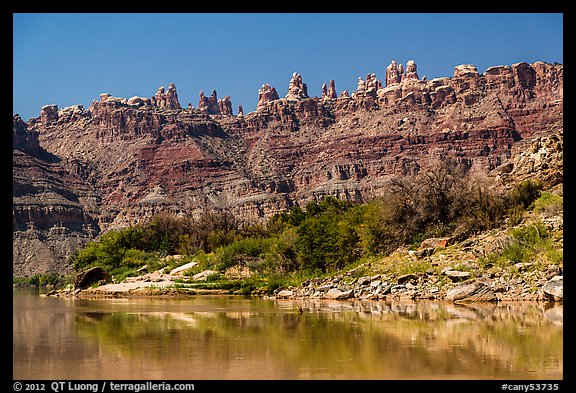 Doll House seen from the Colorado River. Canyonlands National Park (color)