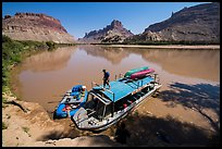 Jetboat and raft at Spanish Bottom. Canyonlands National Park, Utah, USA. (color)