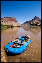 Raft at Spanish Bottom. Canyonlands National Park, Utah, USA. (color)