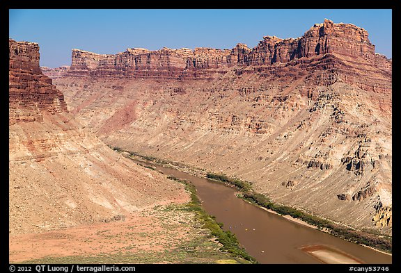 Distant views of rafts floating Colorado River. Canyonlands National Park (color)
