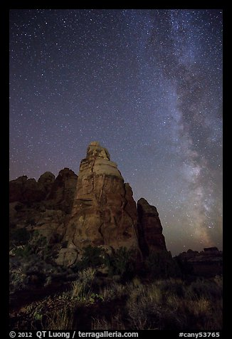 Doll House spires and Milky Way. Canyonlands National Park (color)