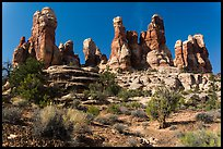 Whimsical spires, Doll House, Maze District. Canyonlands National Park, Utah, USA. (color)