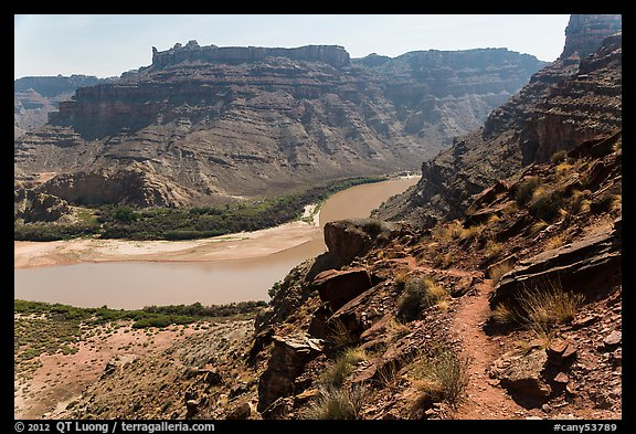 Trail overlooking Colorado River. Canyonlands National Park (color)