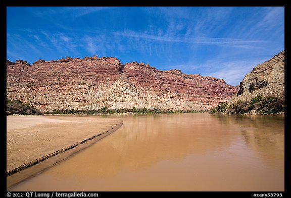 Colorado River and shore near its confluence with Green River. Canyonlands National Park (color)