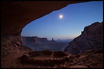 False Kiva and moon at night. Canyonlands National Park, Utah, USA.