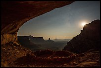 False Kiva, moon, and stars. Canyonlands National Park, Utah, USA. (color)