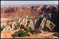 Person looking, Upheaval Dome. Canyonlands National Park, Utah, USA.