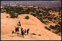 Hikers on Whale Rock. Canyonlands National Park, Utah, USA.