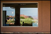 Canyons, Island in the Sky Visitor Center window reflexion. Canyonlands National Park, Utah, USA. (color)