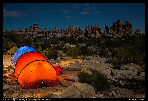 Tents at night in the Dollhouse. Canyonlands National Park (color)