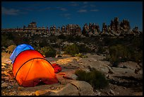 Tents at night in the Dollhouse. Canyonlands National Park, Utah, USA. (color)