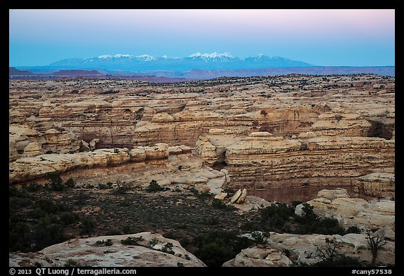 Maze canyons and snowy mountains at dusk. Canyonlands National Park (color)