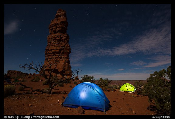Tents at night below Standing Rock. Canyonlands National Park (color)