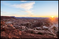 Sunrise over Jasper Canyon from Petes Mesa. Canyonlands National Park, Utah, USA. (color)