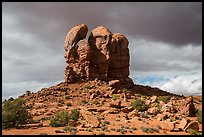 High Spur and storm clouds, Orange Cliffs Unit, Glen Canyon National Recreation Area, Utah. USA (color)