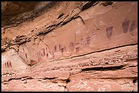 Oblique view of entire Great Gallery panel, Horseshoe Canyon. Canyonlands National Park, Utah, USA. (color)