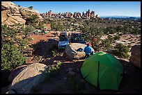 Jeep camp at the Dollhouse. Canyonlands National Park, Utah, USA. (color)