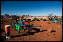 Backcountry camp chairs and tables, Standing Rocks campground. Canyonlands National Park, Utah, USA. (color)