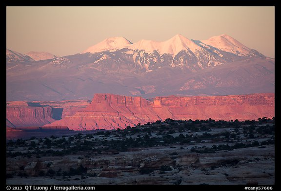 Distant Island in the Sky cliffs and La Sal mountains. Canyonlands National Park (color)