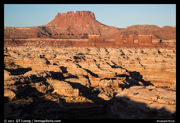 Chocolate drops, Maze canyons, and Elaterite Butte, early morning. Canyonlands National Park (color)