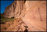 Rock art and cliff in Pictograph Fork. Canyonlands National Park, Utah, USA.