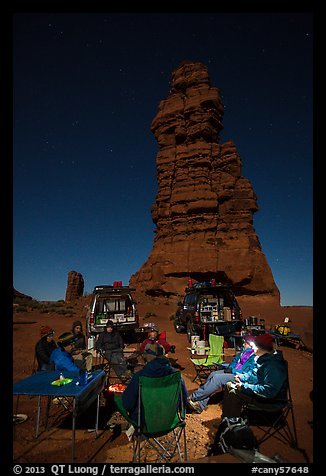 Car-camping at the base of Standing Rock at night. Canyonlands National Park (color)