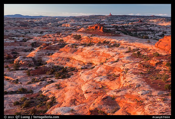 Jasper Canyon from Petes Mesa at sunrise, Maze District. Canyonlands National Park (color)