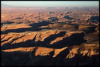 Aerial View of Maze District, Island in the sky in background. Canyonlands National Park, Utah, USA. (color)