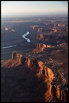 Aerial View of cliffs bordering Green River. Canyonlands National Park, Utah, USA. (color)