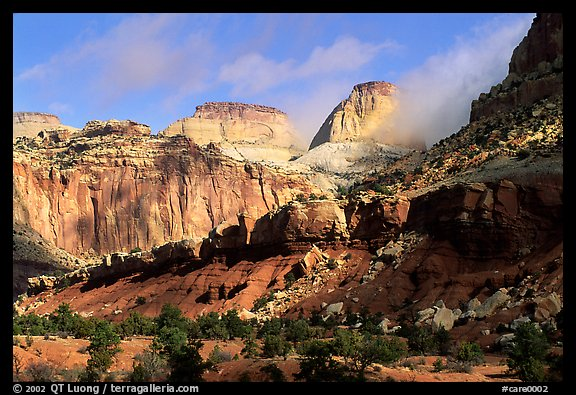 Capitol dome and Waterpocket Fold. Capitol Reef National Park, Utah, USA.