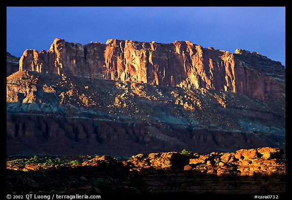 Cliffs from Sunset Point, sunset. Capitol Reef National Park (color)