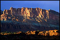 Cliffs from Sunset Point, sunset. Capitol Reef National Park, Utah, USA. (color)