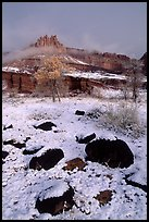 Castle Meadow and Castle, winter. Capitol Reef National Park, Utah, USA.