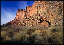 Historic Fuita school house and cliffs. Capitol Reef National Park, Utah, USA.