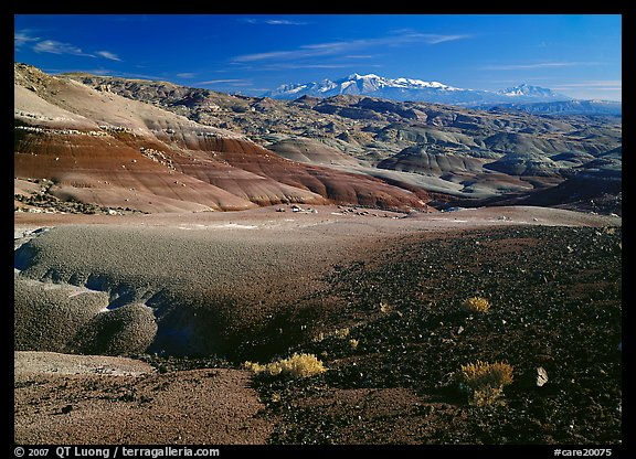Bentonite hills and Henry Mountains. Capitol Reef National Park (color)