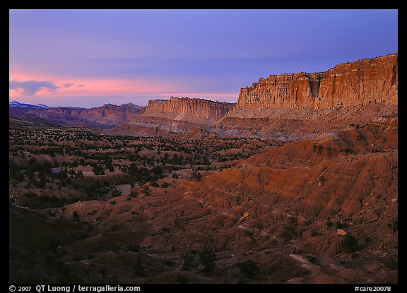 Waterpocket fold cliffs at dusk. Capitol Reef National Park (color)