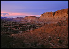 West side of Waterpocket Fold monocline at dusk. Capitol Reef National Park, Utah, USA.