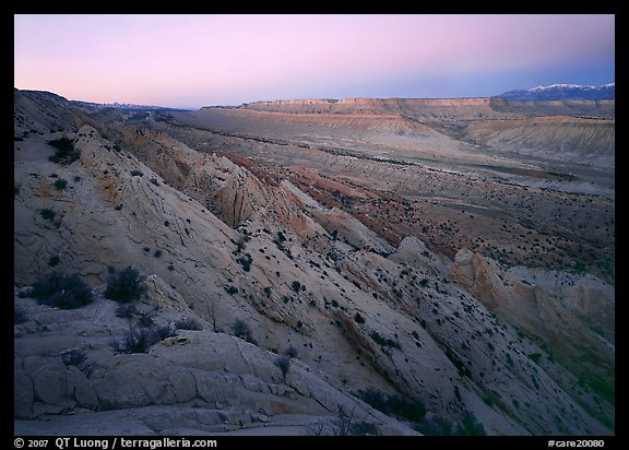 Strike Valley and Waterpocket Fold at dusk. Capitol Reef National Park (color)